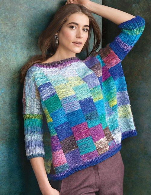 pullover sweater in multi colored squares