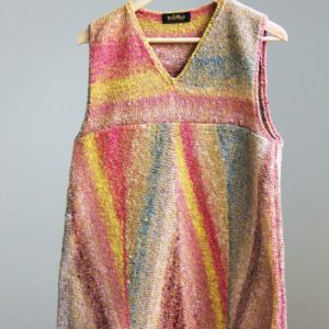 coracoral, yellow, brown v-neck tank